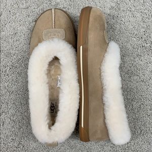 UGG light tan colored slippers, size 10.